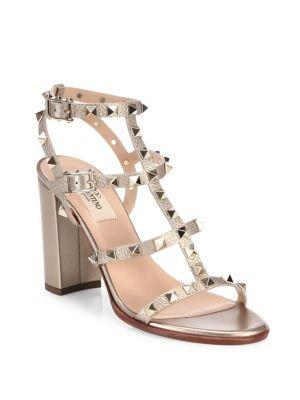 Valentino Garavani Rockstud Metallic Leather Block Heel Sandals