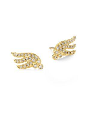 Temple St. Clair Wing Diamond & 18k Yellow Gold Stud Earrings