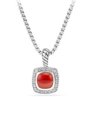 David Yurman Petite Albion? Pendant Necklace With Carnelian And Diamonds
