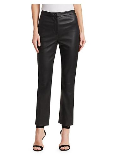 St. John Stretch Leather Cropped Pants