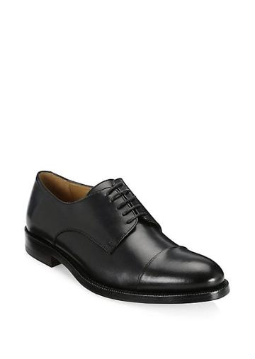 Saks Fifth Avenue Collection Cap Toe Leather Dress Shoes