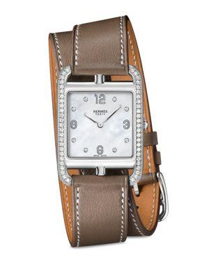 Hermes Watches Cape Cod Diamond, Stainless Steel & Leather Double-wrap Watch