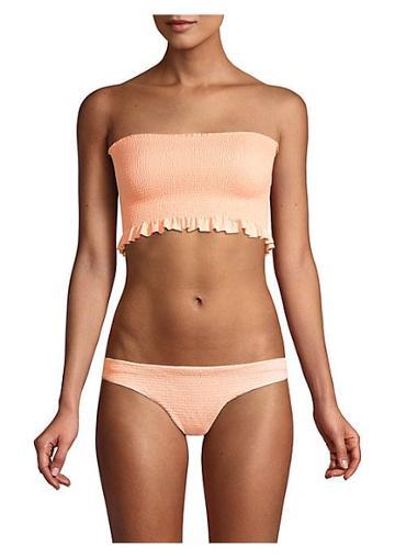 Pilyq Papaya Smocked Bandeau Bikini Top