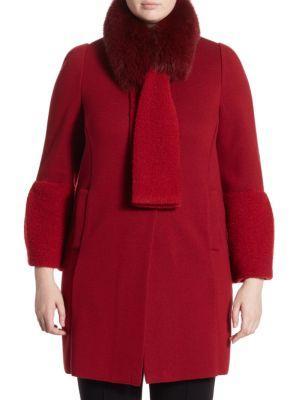 Stizzoli, Plus Size Bell Sleeve Fox Fur Coat