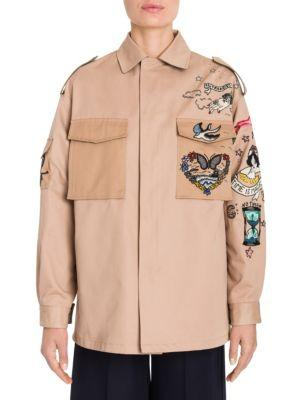 Valentino Embroidered Gabardine Chino Jacket
