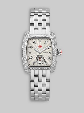 Michele Watches Urban Mini Diamond Stainless Steel Watch