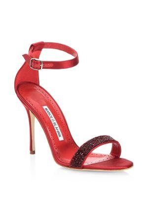 Manolo Blahnik Chaos Crystal Satin & Leather Open-toe Sandals