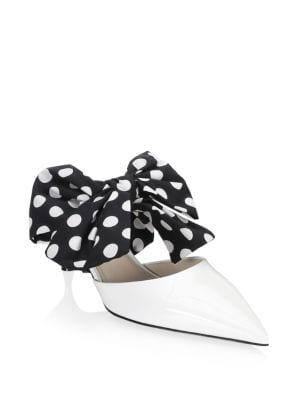 Prada Polka Dot Bow Leather Mules