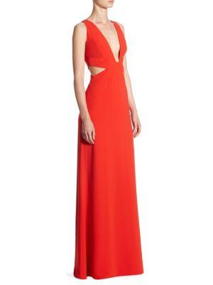 Halston Heritage Deep V-neck Floor-length Gown