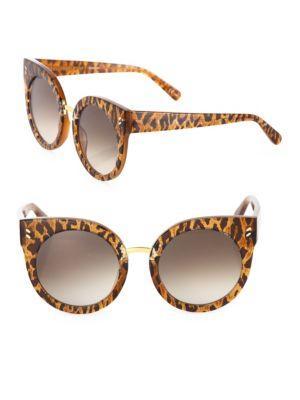 Stella Mccartney 51mm Leopard-print Rounded Cat Eye Sunglasses
