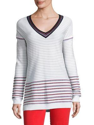 St. John Sport Collection Striped V-neck Pullover