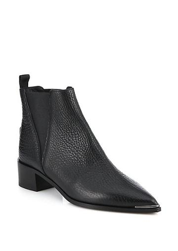 Acne Studios Jensen Point Toe Grain Leather Chelsea Boots