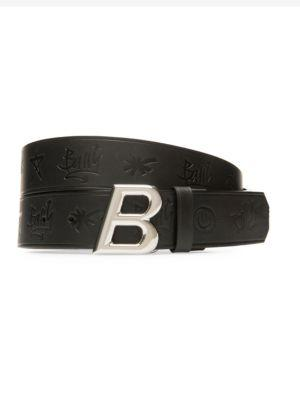 Bally Oblique Shiny Buckle Belt