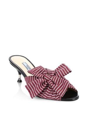 Prada Stripe Bow Leather Mules