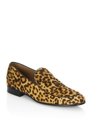 Gianvito Rossi Leopard Print Leather Loafers