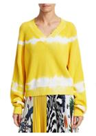 Msgm V-neck Tie-dye Knit Sweater