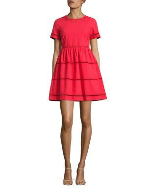 Red Valentino Lace Inset Cotton A-line Dress