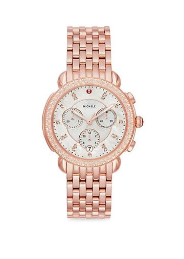 Michele Watches Sidney Pink Goldtone & Diamond Watch