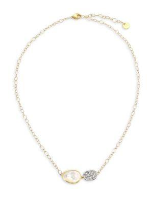 Marco Bicego Lunaria 18k Gold Pave Diamond & Mother-of-pearl Necklace
