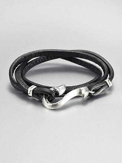 John Hardy Sterling Silver And Leather Wrap Bracelet