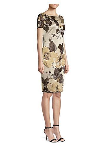 St. John Gold Leaf Jacquard Knit Dress