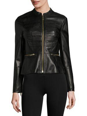 Burberry Leather Zip Front Jacket