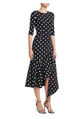 Oscar De La Renta Asymmetric Polka Dot Flounce Dress