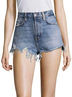 Current/elliott Ultra High Waisted Distressed Shorts
