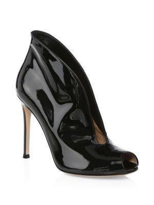 Gianvito Rossi Patent Leather Peep-toe Booties