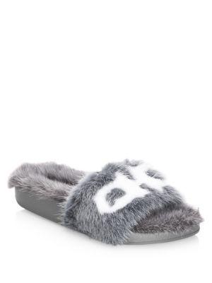 Salvatore Ferragamo Groove Mink Fur Logo Slides