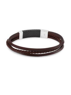 Tateossian Silver And Leather Slide Multi-strand Bracelet