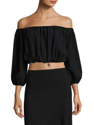 Theory Waleska Rosina Off-the-shoulder Cropped Top