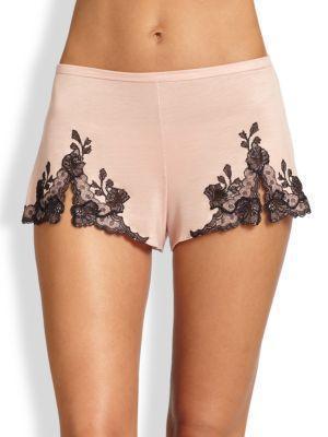 Josie Natori Charlize Lace Embroidered Tap Shorts