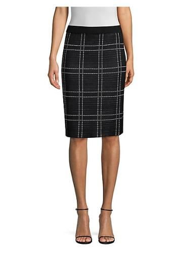 Misook Windowpane Check Pencil Skirt