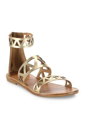 Soludos Geometric Laser-cut Metallic Leather Sandals