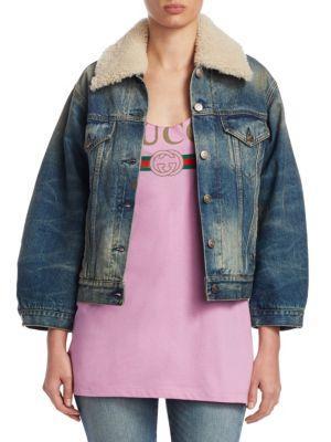 Gucci Shearling Collar Denim Jacket