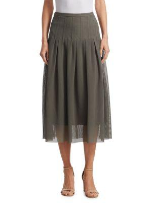 Akris Punto Pleated Mesh Skirt