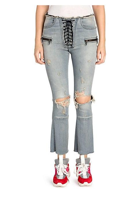 Ben Taverniti Unravel Project Distressed Lace-up Flare Jeans