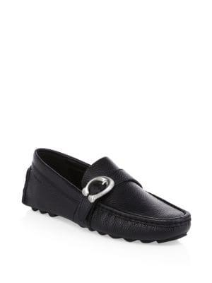 Coach Leather C Strap Driver Loafers