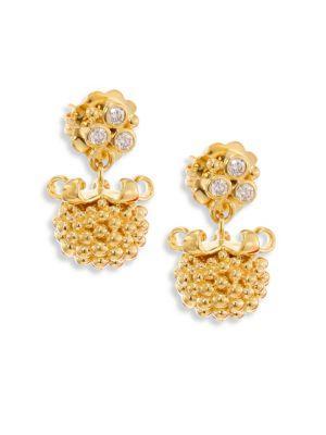 Temple St. Clair Large Pod Diamond & 18k Yellow Gold Earrings