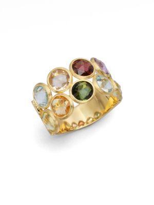 Marco Bicego Jaipur Semi-precious Multi-stone & 18k Yellow Gold Two-row Ring