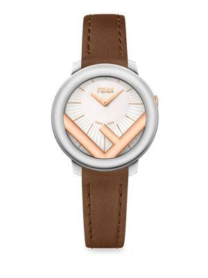 Fendi Run Away Stainless Steel & Leather Watch