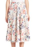 Msgm Pleated Floral-print Skirt