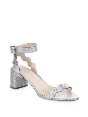 Loeffler Randall Crinkle Scalloped Mid-heel Leather Metallic Sandals