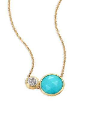 Marco Bicego Jaipur Diamond, Turquoise & 18k Yellow Gold Pendant Necklace