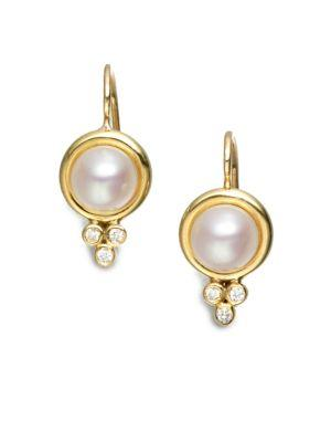 Temple St. Clair Classic 7mm White Mabe Pearl, Diamond & 18k Yellow Gold Drop Earrings