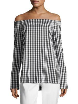 Lafayette 148 New York Checkered Off-the-shoulder Blouse