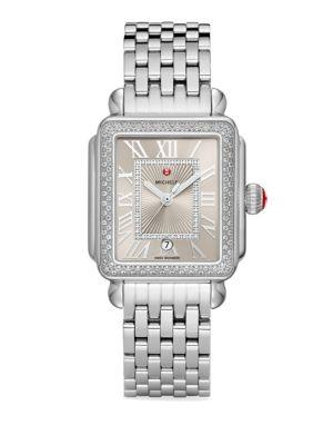 Michele Watches Deco Madison Stainless Steel Cashmere Diamond Bracelet Watch