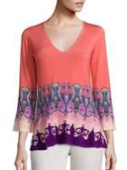Etro Paisley Print Stretch-silk Knit Top