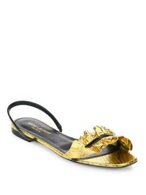 Saint Laurent Edie Metallic Snakeskin & Patent Leather Flat Slingback Sandals